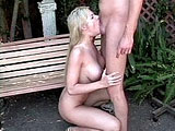 In this scene, Melissa West is a filthy whore that is outside giving a knob shine near a curious bust of Beethoven.  She gets fucked on a bench from behind and also riding cowgirl.  This guy plugs her deep in both of her fuck holes, and then drops his load on her face and in her mouth.  She swallows