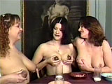 At first, just one lactating mama is pumping her tits for milk, but soon, this clip shows three ladies, one black, all with loaded milk cannons. They are seated at the breakfast table, filling their cereal bowls and glasses with the healthiest drink there is and it's directly from their big, swoll