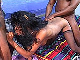 This petite big titty black girl gets two big warm loads blown on her face.  Before she gets to swallow any cum, she offers her little black cherry and ass to the guys.