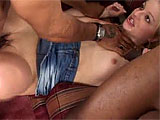 Two black studs are hanging out when Jessica Dee comes over to get a taste of her first black dick.  She blows these guys, and then loosens up her asshole by stuffing her fist in there.  These guys stuff their beefy cocks in her tight holes and blow their loads in her waiting mouth.