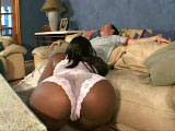 Sexy black fuck slut, Unique, is getting a big white cock stuffed up her wet cunt. Her pink love bucket is packed full of cock in a few different positions before her mouth is filled with warm yogurt.