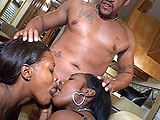 A couple of stunning black sluts get close and personal at the beginning of this scene. They prep their holes for the action to come. Three dudes enter to pound at all their orifices. These girls get fucking torn up by these meat pistons, and their faces get smothered with doses of mangoo.