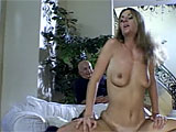 In this scene, Mrs. T Delano gets with a guy while her husband and an old fuck watch.  Her pussy is licked, fingered, and smacked to her delight.  This little cutie loves putting on a show as she sucks and fucks this other guy and smiles when she gets blasted on her chin with cum.