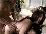 This old guys got no problem at all watching his horny wife fuck three black dudes. She doesnt even have panties on under her skirt when they check her waxed vag to see how moist she is. They start taking turns with her right away, sliding their raging dark dicks into her eager slot. She blows