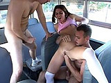 Ashley Blue's pretty little teen mouth gets introduced to two hard cocks. She sits her shaved twat down on one guy's dick as the other one feeds his cock to her. After the dudes switch up positions, they DP her before unloading on her tongue.