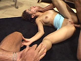Chiquita Lopez gets right to work, sucking cock and taking it in both of her fuck holes.  A second guy joins the fun and Chiquita quickly takes care of him as well.  She drinks their loads that are shot directly in her waiting mouth.