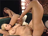 Alicia Rhodes and Mariah Rios are enjoying each others pussies when a guy strolls in.  They quickly shift their mouths to his cock and take turns sucking then fucking it.  Alicia gets most of the load to her face, but Mariah gets her fair share as well.  The two have a sexy cum kiss to round out 