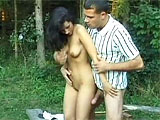 This petite brunette is spending a nice time with her man out in the woods.  They find a secluded spot and the fun begins.  These two exchange oral and then fuck in the grass.  The slow motion cumshot in the end is a must see.