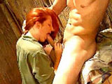 The guy in this clip is fucking a sexy little redhead, First, he sucks on her tiny little mosquito bites before taking her pants off and licking her bald taco. She then gets on her knees and chokes down his wood before spreading wide for his big cock.