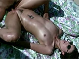 Victoria Lee is masturbating poolside and falls asleep when her man swims up to get in on the action.  He eats her moist pussy and she returns the favor.  Victoria mounts up for a cock ride and gets pumped in a few positions before getting a refreshing thirst quencher.