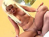 Summer Storm is a cum whore.  She is joined by a guy and immediately gets to work on sucking that man juice out.  The guy pounds her shaved pussy and blows his load in Summer's mouth.  She gives a BJ cleanup and swallows her treat.