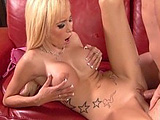 Morgan Layne is the featured hottie in this scene.  She sucks big cock with ease and takes it rough in her bald pussy.  The guy is blowing his load in her mouth before you know it.