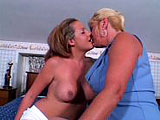 A hot blonde milf and a sexy blonde teen play around on a bed in their panties. They caress each other's bodies before playing tongue twister on their wet poons. They exchange a strap on, so each of them can have equal fuck time.