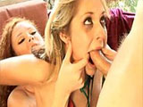 Two extremely hot girls are going buck wild on each other's boxes. The girls satisfy one another's ass hole and pussy with some big ass dildos and a strap on.   The good time doesn't stop there, soon a guy joins in.  After drilling both the girls in every conceivable position, the two whores share