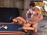 Diva Devine is playing a little pool when a black guy comes in and gives her a different stick and balls to play with.  They exchange oral and then he bends her over the pool table.  Moving over to the couch, Diva rides that dick like a cowgirl.  She continues to get fucked until the guy shoots his 