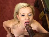 Little blonde slut Michelle Christian really loves dark meat.  After running her tongue up and down this dude’s shaft, she gets her twat licked and then fucked. 