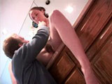 This chick is getting fucked hard in her hairy fuck hole. She and the guy start by nibbling and sucking on each other's sensitive areas before plunging deep into some hot and heavy fucking. Watch the guy pull out and spray man-juice all over her face.