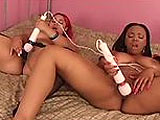 Two thick ebony hotties suddenly get an urge to make one another squirt. These babes go down on each other, and use toys til their pussies explode in happiness all over their faces and bed sheets.