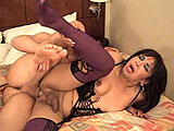 Antonella is a sexy tranny with her stud of a man on a hotel bed.  She gets him good and hard with her mouth, and then gets pounded from behind.  Antonella gets it in mish and then the guy blows his load all over her tits and rubs it around.