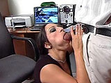 Leah Lexington goes to see Dr. Fill because she is a narcissistic, chronic masturbator.  The Dr starts his treatment by licking her shaved pussy and having her suck on his big black cock.  She keeps looking at herself in the mirror during all of this, but she soon forgets about herself w