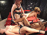 For this scene, Karma, Lolo, and Arson have prepped themselves for their mistress, Emerald.  These horned up sluts lick pussy and take toys in their lubed up holes.  They get fucked in the ass with strap ons and go ass-to-ass with a double ended dildo.