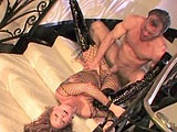 Venus is a mouth watering MILF porn star, dressed in a fishnet body stocking and hungry for some meat rod. She gets her very pretty pussy licked and aggressively fingered too, but the real fun comes when she starts riding his cock on the staircase and then lies back, spreads her gorgeous gams and ge