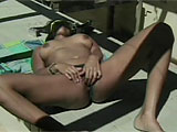 This clip is a two-fer.  First up, Mika Tan is in the mood to play.  She is by herself outside, sucking on her vibrator.  After stripping off her bottoms to gain access to her moist slit, she rubs her clit and stuffs the vibe in her hole until she gets off.  Next up is Victoria Style.  Same routine 