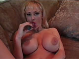 Super curvy, huge tit Jessica licks her nipples, then leans back on the couch and spreads her goods open for you to see all of her pretty pussy. Before long, shes exploring deep into her snatch with two fingers, and rubbing her clit too. She pulls out a flowery glass dildo, sliding it all the way