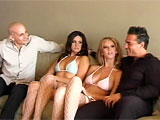 Two couples hang out on the couch getting to know one another, but they get more closely acquainted when they engage in a hot foursome. There's plenty of pussy nailing, face fucking and clit licking. And these horny freaks switch so often, it's hard to keep track of who's fucking who. The two