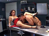 Chiquita Lopez is the manager of a restaurant and gets pissed off at her line cook.  She determines that the only thing is good for is using his cock.  Chiquita quickly drops to her knees to gag on his rod and then he takes over.  She is put up on the prep table where she continues to be used like t