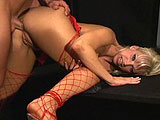 This scene starts with Nikki Hunter doing a striptease before it cuts to a muscled stud eating and fingering her shaved slit.  She returns the favor with a throat massaging blowjob, before getting both of her tight fuck holes pounded hard.  Nikki gets a big facial and gives a BJ clean up.
