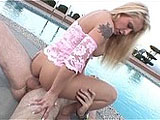 Rebecca Steele takes her deviance outside to the patio, where she strips down and treats herself to a deep pussy toy session. When a man arrives, she quickly gets his pants down and swallows his knob, gurgling and gobbling every inch of it down into her throat. He reciprocates by munching on her bal