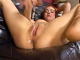 This scene stars Sytheria.  This slutty redhead has the juiciest poon in the biz.  She squirts so much, she could fill a swimming pool.  Sytheria's pussy shoots cum all over and she is happy to suck it off her man's cock.  The guy blows his load inside her damp cavern and then she rubs out anoth