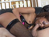 Marie Luv gets her asshole licked by her costar when he joins her on the couch.  Next, she slurps on his cock while he stuffs a dildo in her ass.  This guy goes straight to fucking her ass, and only stuffs it in her pussy to finish himself off, spooging in her pink hole.  Marie pushes it out into a 