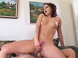 This brunette is a true butt slut.  She fingers her own ass and stuffs toys in and out of her puckered hole.  This nasty slut gets her asshole pounded and she tastes her juices on the toys and the guys dirty cock. Her hole is pumped full of cum and she squeezes it out in to a glass to drink down.