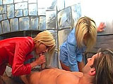 Two seriously hot, fantastic blondes give one lucky guy a dual beejer on a spa table. They're wearing business suits, but it looks like it's all play and no work for these three. One chick starts sucking and licking his rod, while the other focuses on his nipples. Then they switch. At the end, h