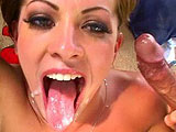 Vanessa Lane is a petite and sexy brunette that knows how to give head.  She sucks big cock like she's trying to get the center of a tootsie pop.  Vanessa works that big cock until it spews on her tongue for her to swallow.