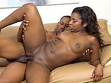 Amile Waters is diddling herself on the couch when her black stud comes in.  He was just gonna watch TV, but has no problem changing plans when she starts rubbing his cock. Amile pulls out his dick and starts sucking on it, and soon they are in some hot 69 action.  She mounts up and rides the guy in