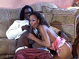 Misty Stone shows off her sexy lingerie for her man.  He rubs her Nubian pussy and then she drops down to slurp on his big black cock.  Misty rides him in cowgirl and reverse, taking time to suck her sweet pussy juice off his cock in between.  They finish in doggie and the guy pulls out to blast his