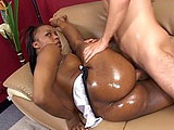 In this scene, Alayah Sashu slurps on big white cock.  She offers up her pink, shaved balck pussy for him to pound, but that just isn't enough.  She has to get out the industrial strength vibrator to use on her clit while she is getting fucked in order to get off.  The guy blows his load all over