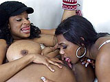In this scene, ebony girls Carmen Hayes and Taylor have a little play time together.  They lick their huge tits and then work their tongues on each other's clits.  Toys are brought out to add to their fun, and these two shove them inside their pink holes.