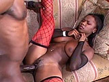 In this scene, Ariel Alexus is the ebony beauty that stuffs big black dick down her throat.  She also takes it deep in both of her fuck holes.  In the end, she gets her face painted with cum.
