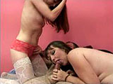 In this amateur scene, Samantha Charles and Miss Brooke share the hairy geek.  They both suck on his dick and then Samantha gets on to ride him.  Brooke goes second and takes it from behind and in mish until the guy pulls out to unload on her FUPA.  Or as some people call it; her fat stomach.