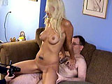 Angelina Hart is one of the better looking amateurs from this studio.  She must benew and desperate for money.  Angelina is stripped down and lays back on the couch to get her fuzzy clam attended to by the geek.  He licks and fingers her honeypot and then she plays with his dick; sucking and strokin
