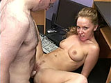 Leighlani Red walks in to the geek's office in sexy pink bra and panties.  The guy fixed her computer so she wants to properly thank him.  She strips down naked and rubs herself all over him.  When he's ready, Leighlani fucks him in the office chair and on the desk.  He pulls out and pops on her