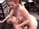 The hairy geek is sitting in his office chair when Chastity walks in dressed in a slutty fishnet bodysuit.  She rubs on him and pulls his pants off to get at his dick.  Chastity gives him a blowjob to completion and swallows his load.