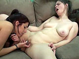 This scene pairs up amateur girls Lavender and Natasha.  They are on a couch kissing and they slowly get undressed.  Lavender is the first to go downtown and gets Natasha off with her fingers and tongue.  Natasha returns the favor and dives in to eat out Lavender's shaved and pierced pussy.
