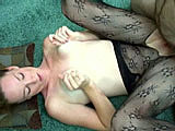 In this amateur scene, Navaya is wearing a crotch-less bodysuit.   It makes for easy access to her shaved pussy.  A hairy guy licks and fingers her pussy while someone is taking stills, and then she gets on her knees to suck his dick.  She gets fucked in missionary and doggie, but this guy doesn't