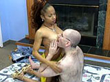Dolly is an amateur Nubian that is ready to fuck a hairy geek.  She strokes and sucks his cock.  Unfortunately for her, the guy blows his load before he fucks her.  He drops his load on her tits.