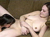 This scene pairs up Danni and Vixen.  These two amateurs lap at each other's pussies on the couch until both are content.
